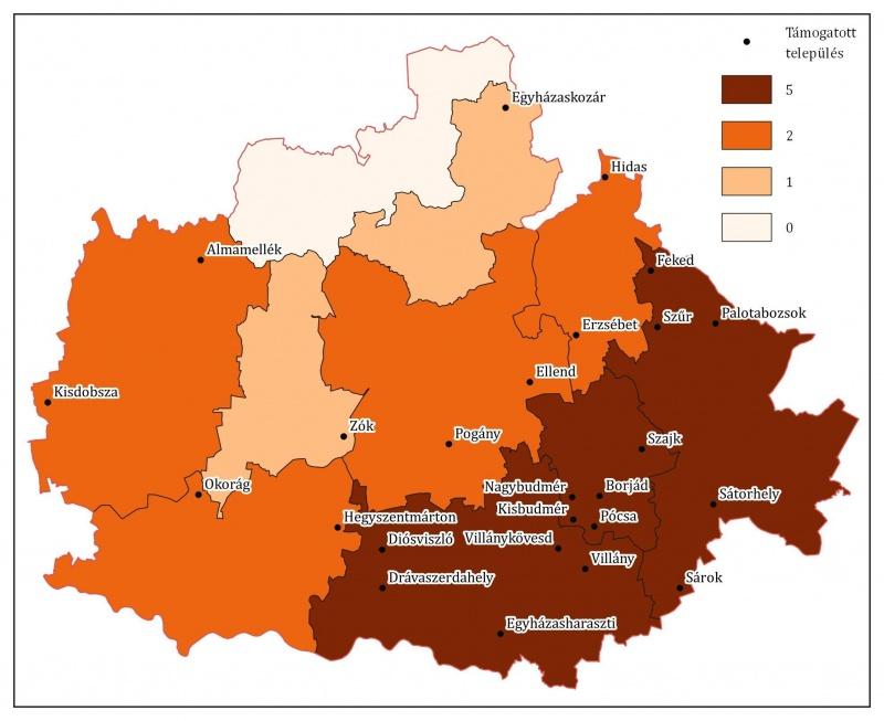 A támogatott települések elhelyezkedése